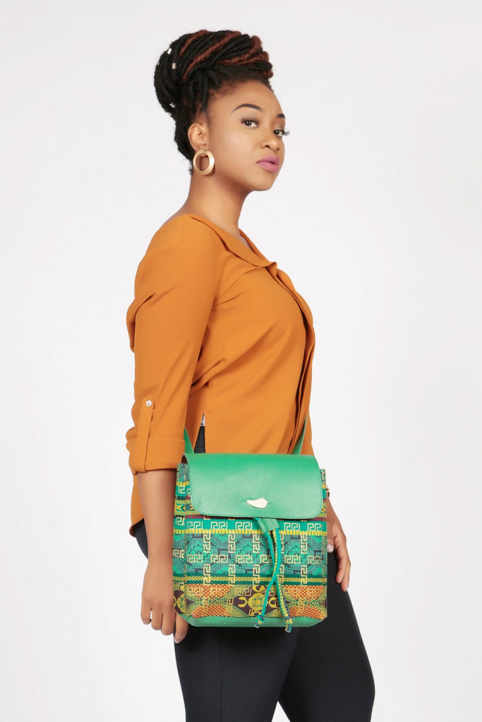 Pepperfruit Asoke Print Backpack With Green Leather