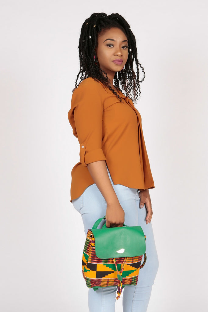 Pepperfruit Kente Print Backpack With Green Leather