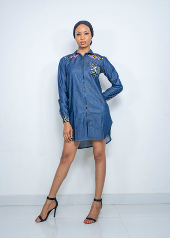 Pepperfruit Women's Denim Shirt Dress Embellished With Exotic African Print Fabric