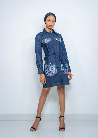 Pepperfruit Women's Denim Shirt Dress Embellished With African Print Fabric