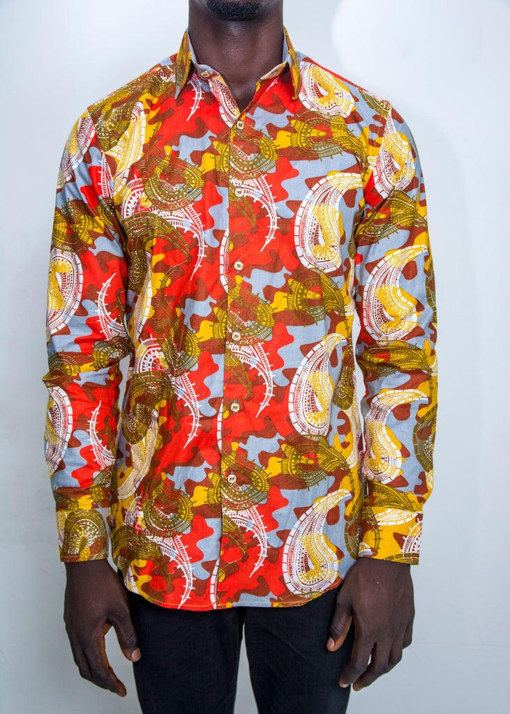 Pepperfruit Abuja V Print Cotton Shirt