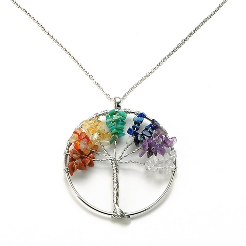 Natural Stone Tree Pendant Necklace