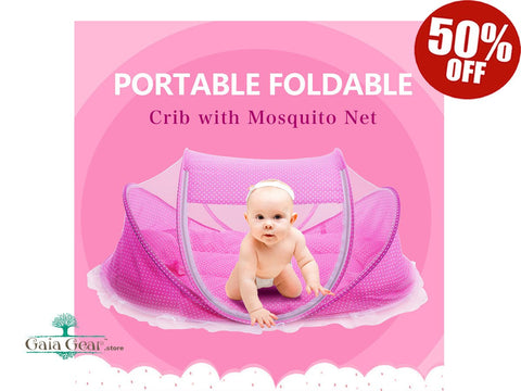 50% Foldable Baby Crib with Mosquito Net