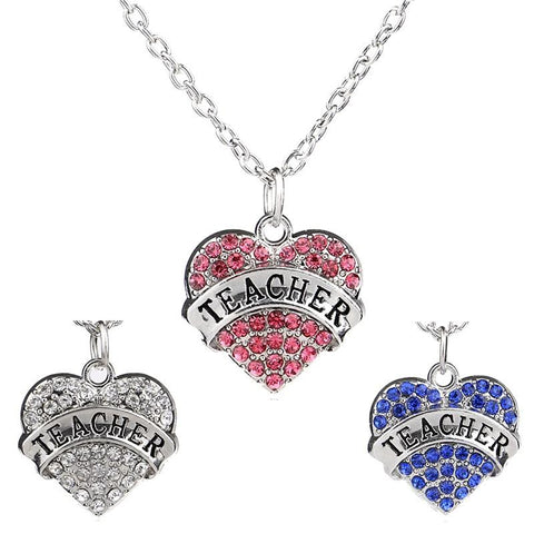50% OFF - Heart Teacher Pendant Necklace