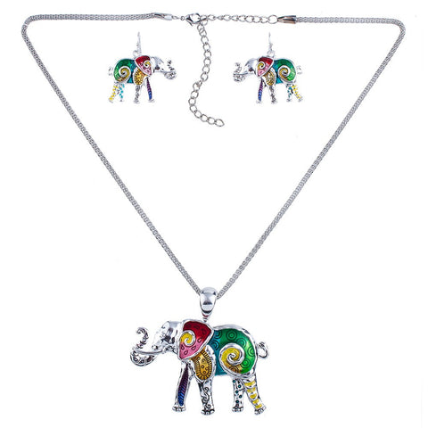 Multicolor Elephant Lovers Necklace Earrings Set