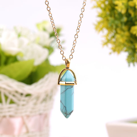 Crystal Prism Pendant Necklace Gold