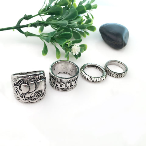Antique Silver Elephant Ring Set