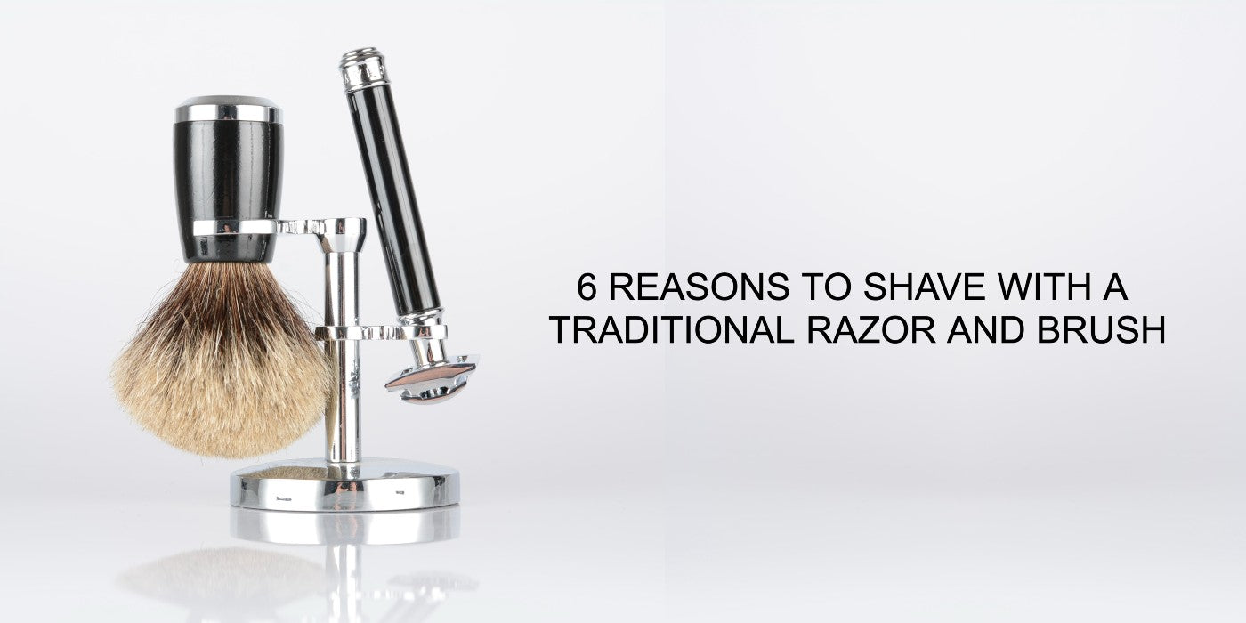 """classic razor and shaving brush in a shaving stand on clean background with caption: """"6 reasons to shave with a classic razor and brush"""""""