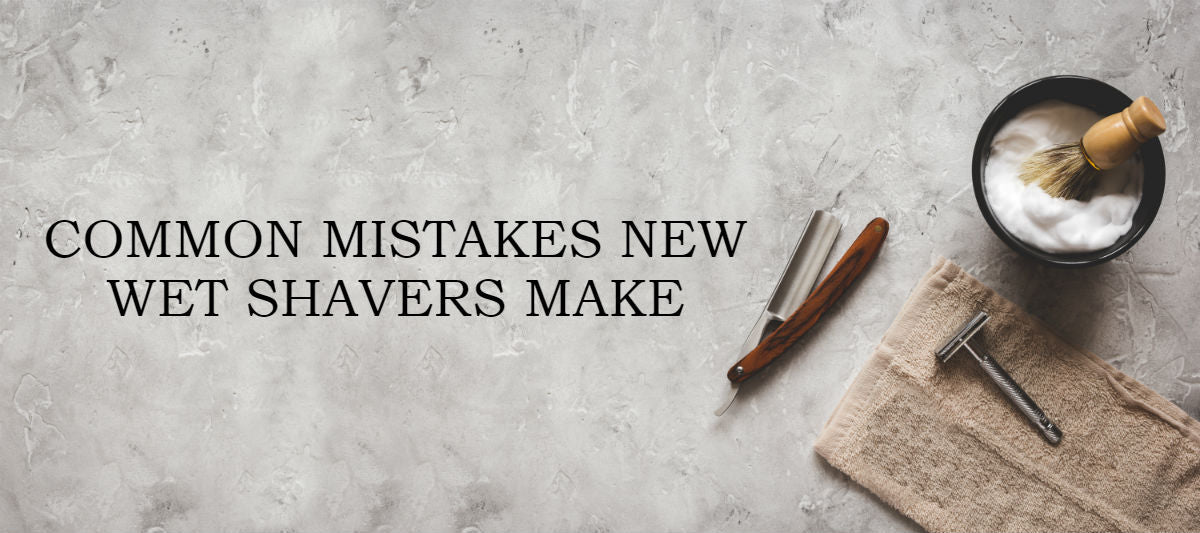 """shaving tools on a marble surface with caption: """"Common mistakes new wet shavers make"""""""