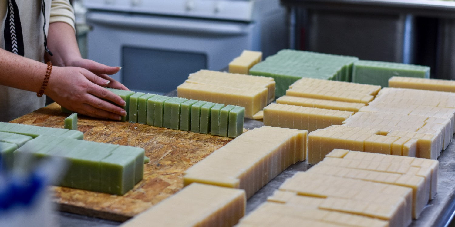 soaps lined up for curing