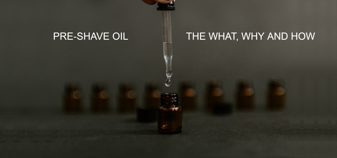 """plain glass vial with dripper dispensing pre-shave oil and the caption: """"What is pre-shave oil and how to use it?"""""""