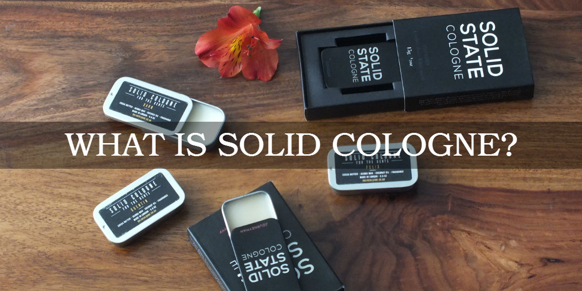 """solid cologne tins on a wooden surface with caption: """"What is solid cologne?"""""""
