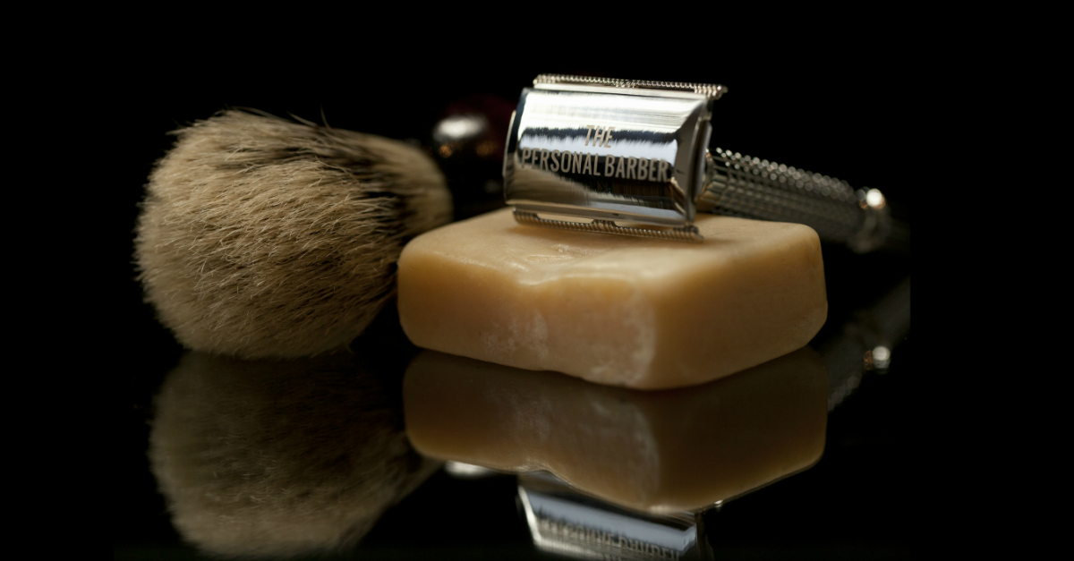 The Personal Barber safety razor, shaving brush, shaving soap black background