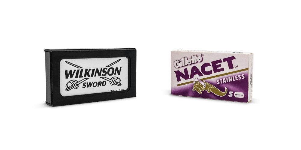 Gillette Nacet and Wilkinson Sword Replacement Blades on white background