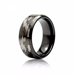8MM Black Men's Tungsten Carbide Camo Ring [50% OFF]