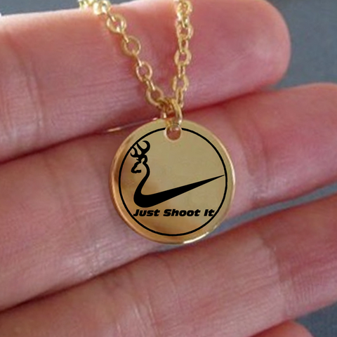 Just Shoot It - Laser Engraved Pendant Necklace [Ships 2 U FREE] MADE IN USA!