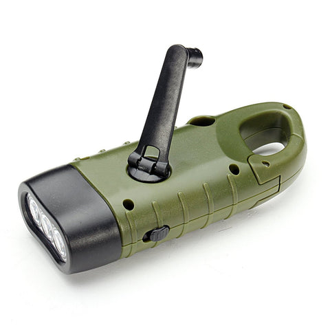 Hand Crank Or Solar Flashlight Rechargeable LED Charging