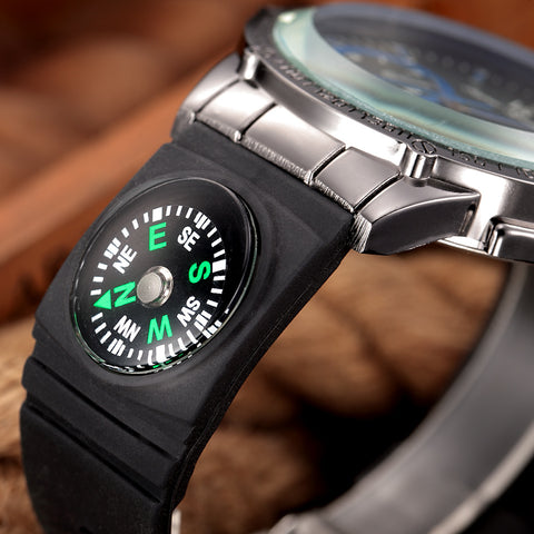 Field Survival Watch With Compass Tough Glass