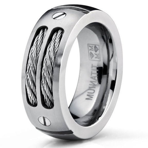 Men's Stainless Steel Ring Unique Cables and Screw Design [NEW]