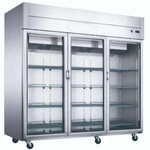 New! Dukers D83R-GS3 Bottom Mount Glass 3-Door Commercial Reach-in Refrigerator