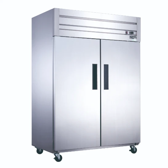 New! Dukers  D55AF Commercial 2-Door Top Mount Freezer in Stainless Steel