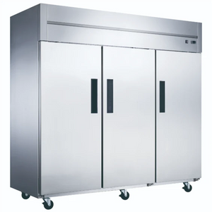 New Dukers D83AF Commercial 3-Door Top Mount Freezer in Stainless Steel