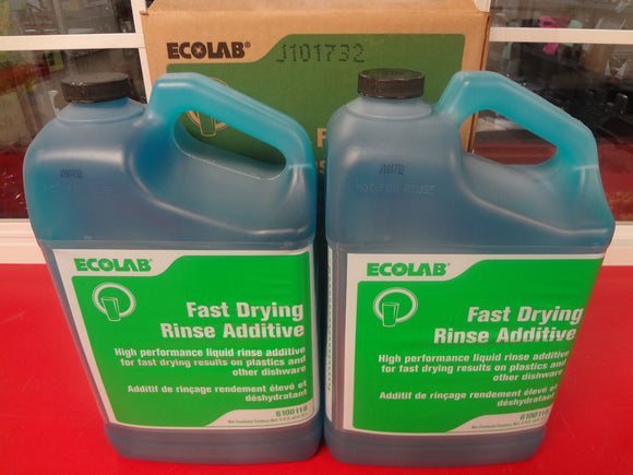 #1663 NEW! 1 Carton of 2 5 qts Ecolab #6100118 fast drying Rinse Additive