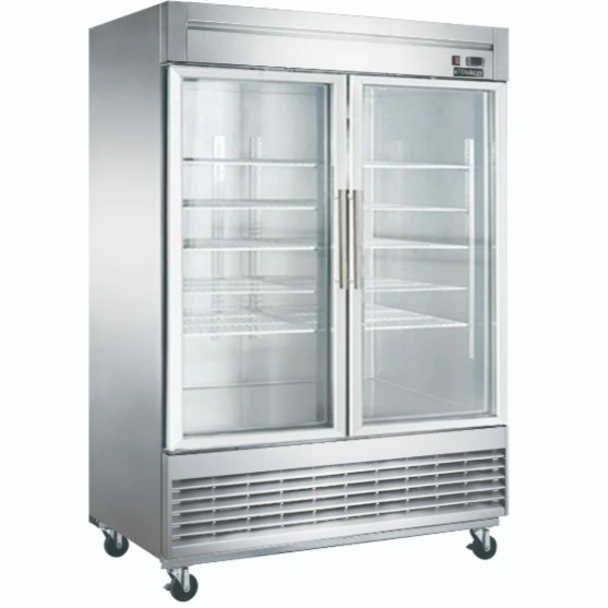 NEW Dukers D55R-GS2 Bottom Mount Glass 2-Door Commercial Reach-in Refrigerator