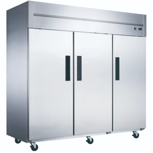 New Dukers D83AR Commercial 3-Door Top Mount Refrigerator in Stainless Steel