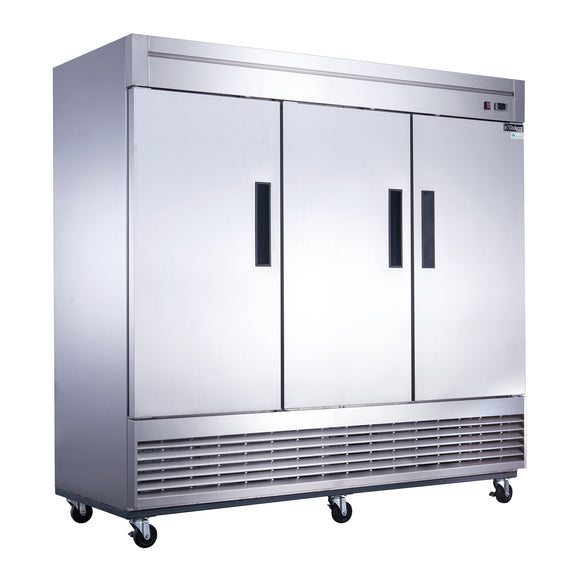New! Dukers D83F 3-Door Bottom Mount Commercial Freezer in Stainless Steel
