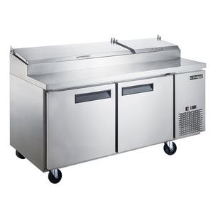 New! Dukers  DPP70-9-S2 Commercial 2-Door Pizza Prep Table Refrigerator