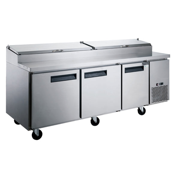 New! Dukers DPP90-12-S3 Commercial 3-Door Pizza Prep Table Refrigerator