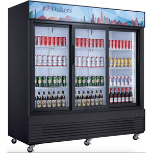 New Dukers DSM-68SR Glass Sliding 3-Door Merchandiser Refrigerator