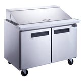 New Dukers DSP48-18M-S2 2-Door Commercial Food Prep Table Refrigerator Mega Top