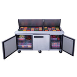 New Dukers DSP72-30M-S3 3-Door Commercial Food Prep Table Refrigerator Mega Top
