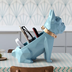Dog Figurine + Office Work Holder