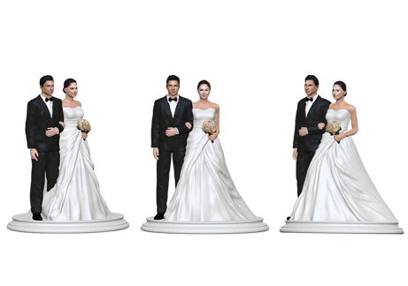 Wedding Cake Topper Figurine- White Crossed Dress
