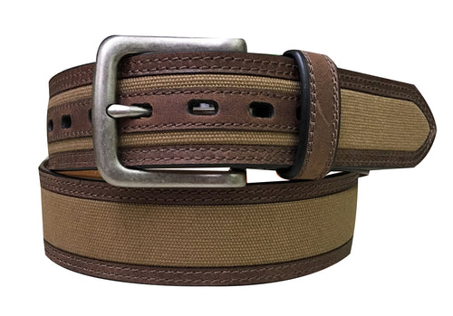 Mens Canvas Belt w/ Leather Trim