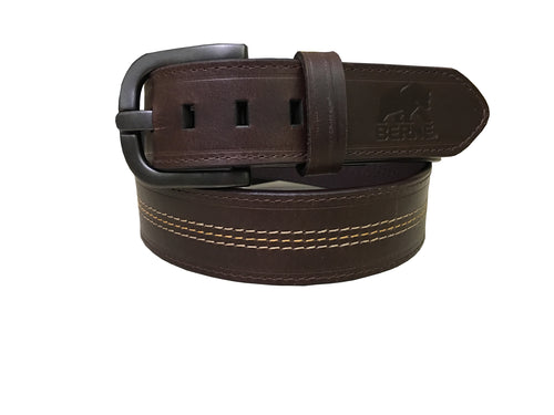 Mens Accent Stitched Leather Belt