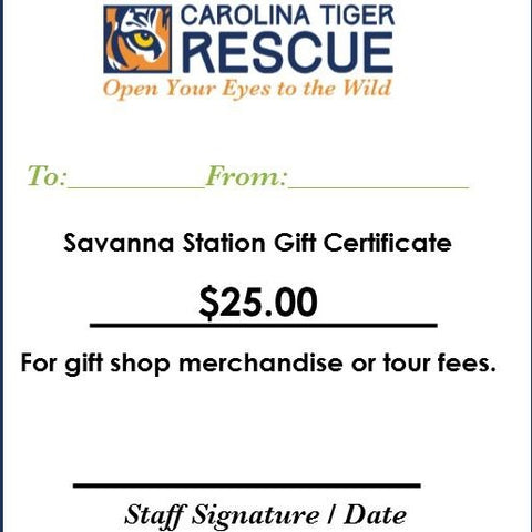 SavannaStation Gift Certificate