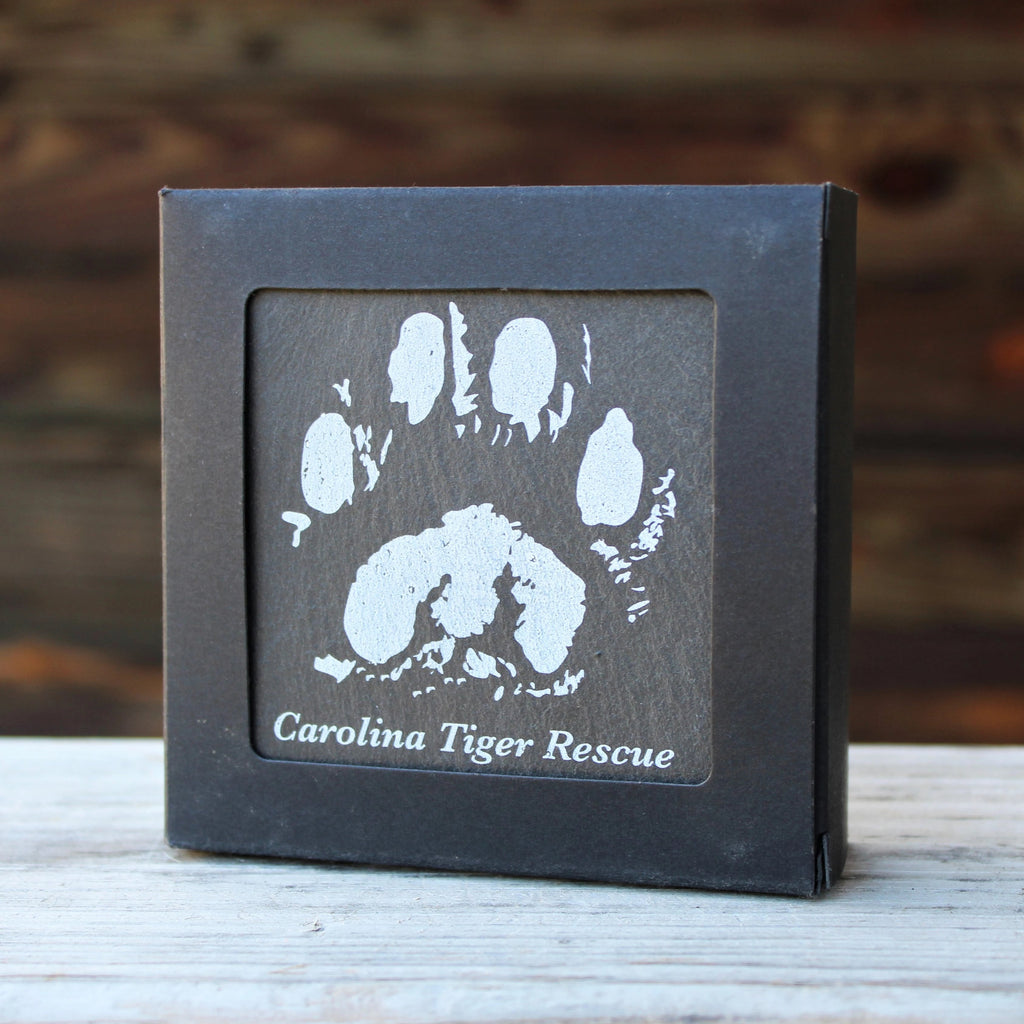 Set of Paw Print Slate Coasters