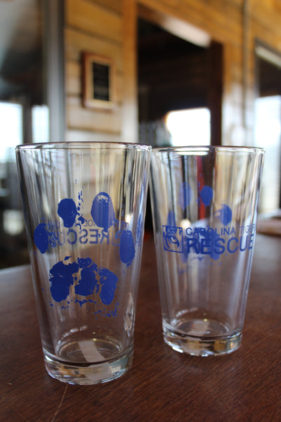 Clear Paw Print Pint Glass