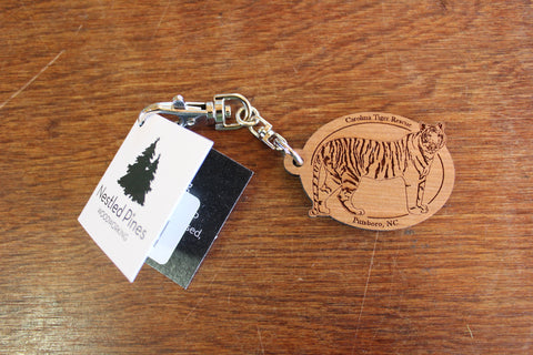 Wooden Tiger Keychain