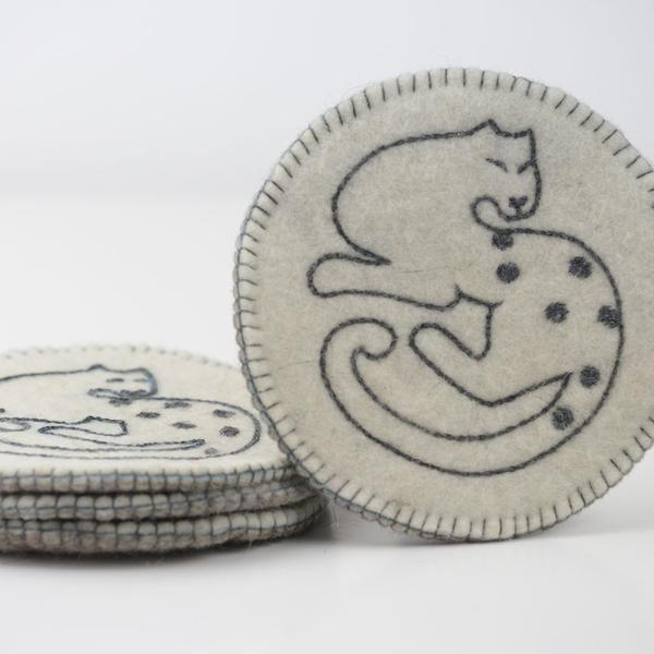 Set of 4 Snow Leopard Coasters