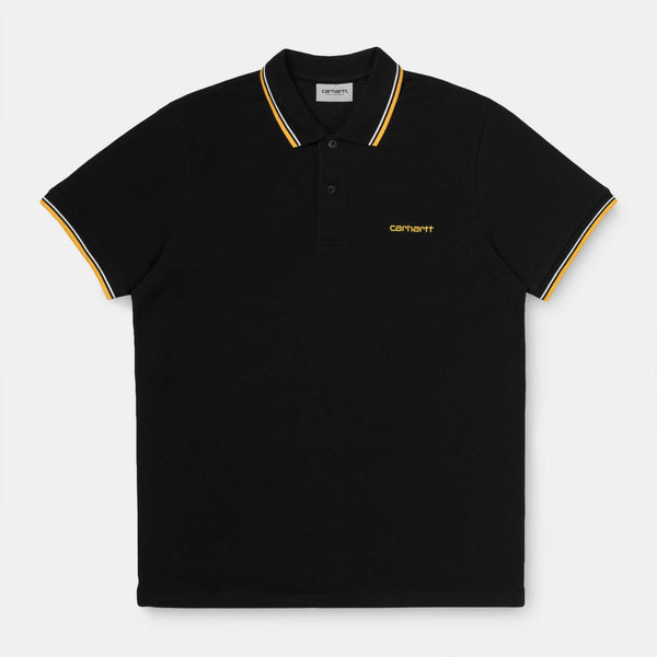 Carhartt S/S Script Embroidery Polo Dark Navy/White/Clockwork
