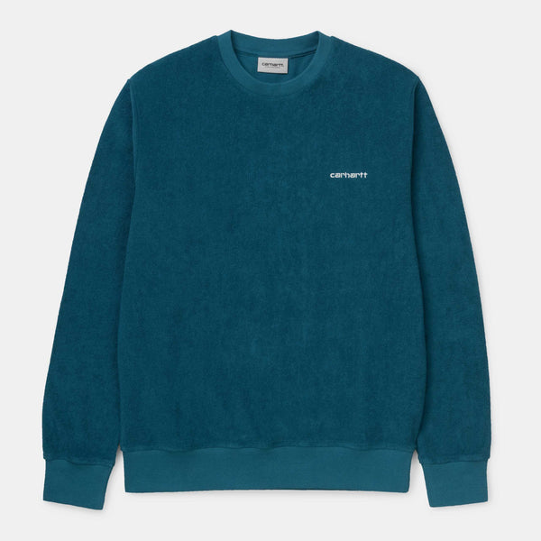 Carhartt WIP Terry  Sweat Moody Blue/White