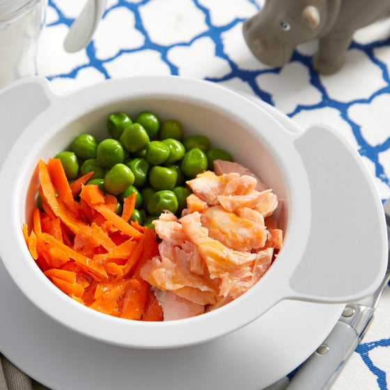 Salmon brown rice and vegetable infant and toddler meal