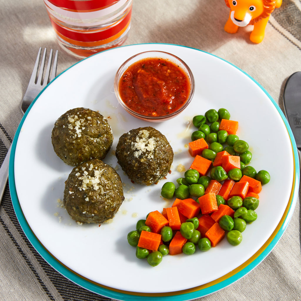 Turkey Spinach Meatballs with Buttered Carrots and Peas