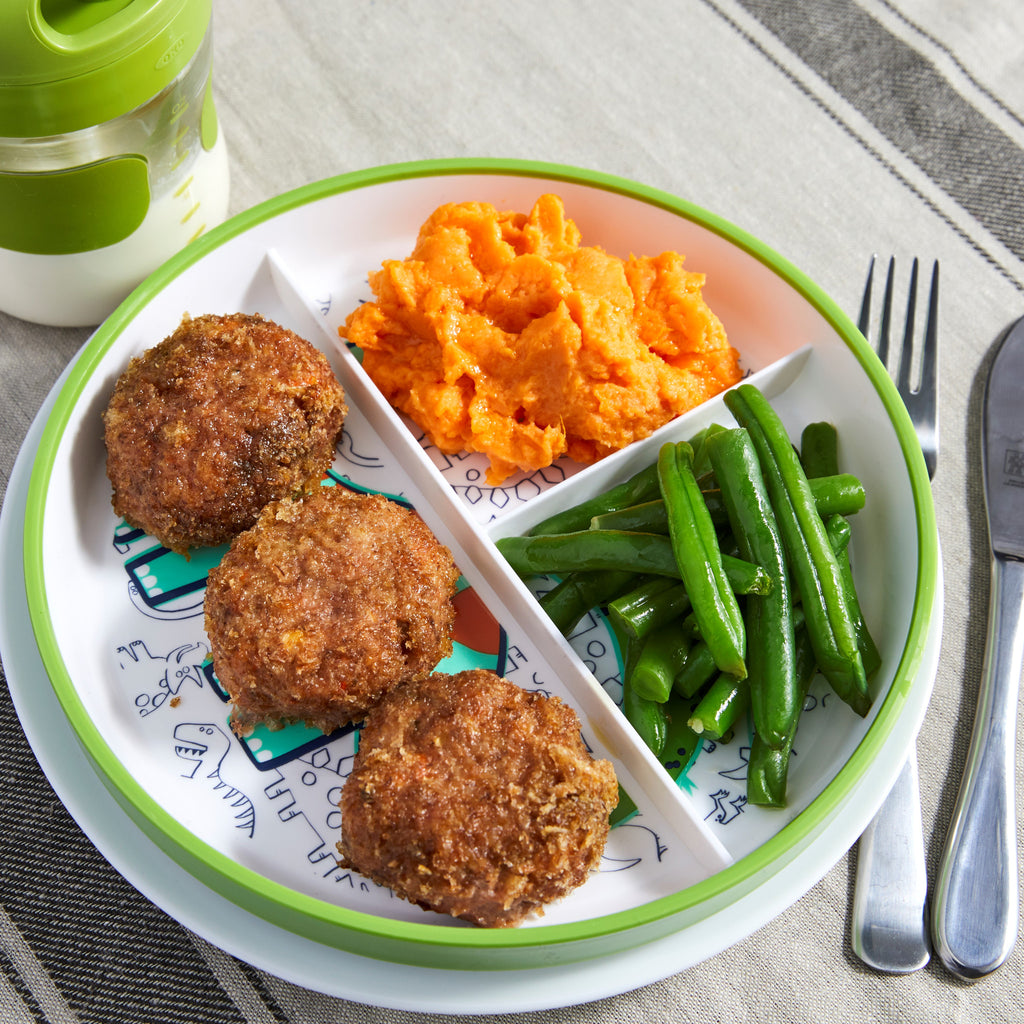 Kids' Turkey Veggie Nuggets with Sweet Potato Mash and Green Means