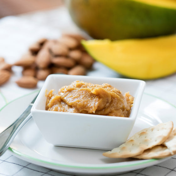 Kids Almond Mango Dip with Rice Crackers Snack